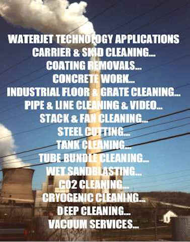 Industrial cleaning and cutting by blasting with water, carbon dioxide, ice, or sand.